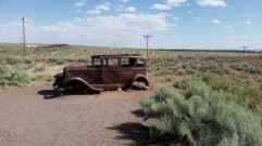 Small restored section of Old Route 66 at the Painted Desert